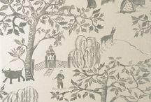 TOİLE DEJOUY desenli duvar kağıdı