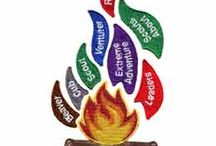 """Flames of Scouting Canada Set / A 9 piece set that covers many stages and branches of Canadian Scouts. The Campfire Base crest measures 2.5"""" x 2.5"""" and the overall size of the entire set measures 2.85"""" wide by 5.25"""" high."""