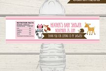 Woodland Girl Baby Shower / This theme features a deer, owl, raccoon, hedgehog and red fox with a girl / pink color scheme. Available in baby shower invitations and a large selection of matching items including baby shower games and favors!