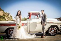 wedding photography: frank & alicia / Alicia and Frank were married at the Casino in San Clemente. After a joyous reveal/first look, we took romantic photos before the ceremony. There are cool old railroad tracks nearby, and we happened across a vintage Chevy truck in a parking lot. The owner was gracious enough to let us use it for photos! It was a beautiful day and beautiful wedding.