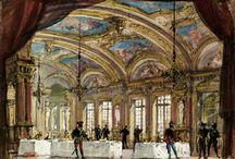 Bühnenbildentwürfe / Bühnenbildentwürfe für Opernaufführungen im 19. und frühen 20. Jahrhundert.