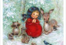 Dessins sur le thème de l'hiver et de Noël pour carte postale ou scrapbooking