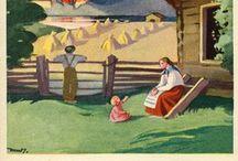 Martta Wendelin / Martta Wendelin oli Suomalaisen maalaiselämän ja kodin kuvaajana tunnettu taiteilija.  Martta Wendelin eli pitkän ja työntäyteisen elämän vuosina 1893-1886. Finnish illustrator