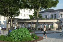 Дизайн проект фасада кафе в современном стиле / Пожелания заказчика: разработка дизайн проекта фасада кафе в современном стиле, гармонично вписанного в одну из главных площадей города.
