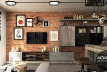 Industrialne mieszkanie z charakterem / Nasz projekt industrialnego wnętrza dostosowany do niewielkeigo mieszkania. Dzieki otwartemu układowi i neutralnym barwom przestrzeń wydaje się większa optycznie. Cegła oraz surowe meble plus metalowe akcenty nadają wnętrzu industrailny i indywidualny charakter :)   Więcej o nas znajdziesz na www.monostudio.pl oraz facebook Projektowanie WNĘTRZ pod klucz MONOstudio.pl