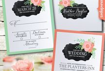 Chalkboard Floral Vintage Wedding Invitation Set! / These gorgeous vintage style chalkboard floral wedding invitations and matching pieces are truly stunning in person! Expertly printed on beautiful metallic paper, and artfully hand-mounted onto thick coral peach metallic 120# card stock, these wedding invitations are perfect for your vintage wedding celebration. With mint and coral color floral elements  juxtaposed against a classic chalkboard background, this wedding set is nothing short of impressive!