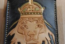 Lion IPhone cover, veg tan leather , handmade
