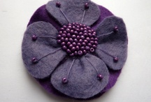 Purple felt embroidered flower brooch