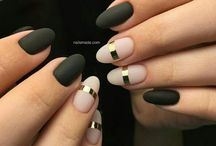 Ногти чёрный матовый