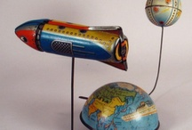 Space Satellite Ship & Rockets + Orbital Tin Toys