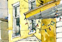architecture and watercolor