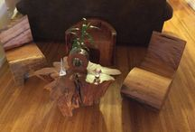 My own work / Furnitures and arts made from fallen trees and naturally aged.