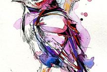 Little Bird 2 Painted with Indian Ink and Watercolour by Abby