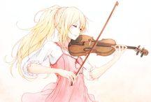 Anime girls playing violins
