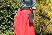 maxi skirt with jean shirt
