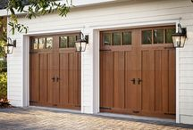 Faux Wood Garage Doors / Clopay Canyon Ridge Collection carriage house style garage doors are constructed from a durable, insulated low-maintenance composite material that looks like real wood, but it won't rot, warp or crack.
