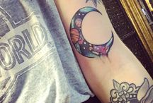 Moon and space tattoo