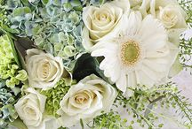 White flowers and wreaths