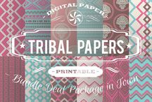 TRIBAL PAPERS / DIGITAL PAPERS - TRIBAL PAPERS BY DIGITAL PAPER SHOP