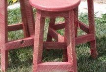 Red Rustic Bar Stools / Red Rustic Bar Stools