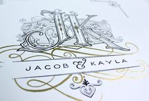 Jacob & Kayla Monogram / The letters are both bold, structured, and yet has a touch of sensitivity to it. The inline decoration for the letter J is obviously masculine with the diamond shape and on the K is more rounded and feminine. Made with black Indian ink and gold calligrapher's ink on cream colored Cordenons Modigliani paper.