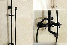 Antique Shower Faucet Set Dual Handles Outdoor Bathroom Shower Mixer Tap Brass Tub Shower Taps