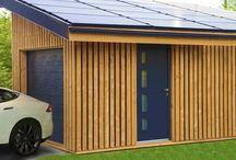 Garage en bois / Garages en bois écologique réalisés en ossature bois avec du Pin Douglas.  Garage simple, garage double et même garage triple, tous réalisés avec une toiture photovoltaïque intégrée.  Pour plus de détails et d'informations : www.solairebox.fr