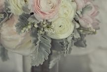 pink and grey wedding / Blush pink and dove grey wedding ideas. Beautiful pink wedding flowers with light grey dusty Miller foliage and grey berries.