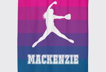 Softball Rooms for Girls / Softball themed bedrooms for girls and teens.  Duvet cover bedding sets, throw pillows, wall art prints, gallery wrapped canvases, shower curtains for softball players.