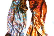 Woven Wonders Scarves / Scarves made with silk satin and digitally printed with designs, designed by Irene van Vliet