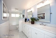 Bathroom Design 76 / A traditional inspired bathroom remodel featuring marble.