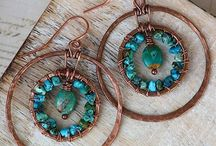 Wire Jewelry - Earrings / Hammered,  wrapped,  woven & chainmailled wire earrings.  / by Patty Segrest Smith