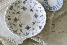 Blue white crockery