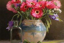 Vazo çiçekleri / ünlü ressamların çiçek resimleri