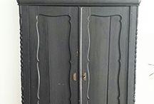 BLACK-vintage, distressed, chippy furniture.