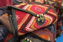 Fashion Handbag / Hand made vintage rug leather bags
