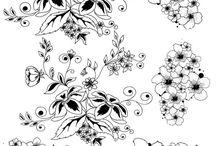 Цветы для распечатки  чёрно-белые