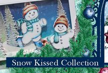 Snow Kissed Collection / A blending of classic winter scenes of gentle snowfalls, candle lit windows, countryside sleigh rides, and frosty snowmen delivers the perfect compilation of winter themed imagery for all of your holiday season creations. Three stamp sets of pine trees and frosty snowmen, a large gift tag, as well as a wide variety of snowflakes which when paired with the coordinating dies will allow you to build one of a kind dimensional flakes.