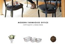 inspire: modern farmhouse office / Classic farmhouse evokes feelings of warmth and comfort. It's traditional without being fussy, classic without being like a museum, and comfortable in a way that makes you want to put your feet up and stay awhile. arrangements, styling, home decor for every part of the house, interior decorating