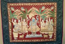 """Pichwais / Pichwai is intricate paintings, which depict the different activities of Lord Krishna. Pichwai painting has its roots in Rajasthan and more specifically in Nathdwara. Pichwai means """"at the back"""" therefore these paintings are primarily used as ornamental curtain/backdrop in Shrinath ji temples and Krishna temples in Rajasthan."""