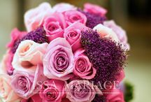 Buchet de mireasa din trandafiri roz pal si roz aprins cu trachelium roz mov / buchet de mireasa din trandafiri roz pal si roz aprins cu trachelium roz mov