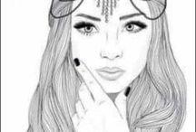 Bouchraa /  les filles styler dessinées en noir et blanc