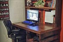 Desk and bookshelves