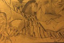my work Striped rug #pencil #sketch #sketchbook #art @campinglageneste #correze #france #summer