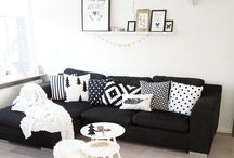 black couch styling