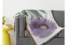 Garden of Woven Throws / Natural theme, botanical, and floral woven throws that change a room on a basic sofa or chair.