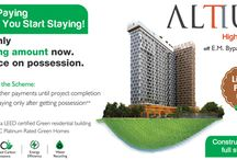 Altius - Luxury Complex on Christopher Road off EM Bypass, Kolkata / A bold and modern architectural icon with the best in international living, Altius is about being on top, both literally and metaphorically. It is the first residential project in Eastern India to receive a Platinum Green Homes Certification from IGBC. G+24 floor with a terrace and bridge connecting the two residential towers.