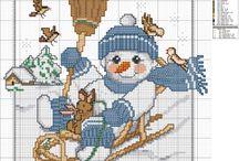 Cross-stitch---snowmen