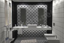 collection Path Work - ΔΩΣΤΕ ΣΤΟ ΜΠΑΝΙΟ ΣΑΣ POP ΥΦΟΣ / Σχέδια μπάνιου με διάσταση 2,40 x 2.60 x 2.40 m με βασικό στοιχείο πλακάκια από την σειρά Patc Work με διάσταση 20x20cm και επιφάνεια ΜΑΤ.