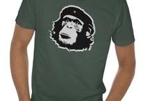 Shirts / Animal Shirts Chimpanzee Monkey Apes Chimp Face Beret Pandas Darwin Fish Viva La Evolution